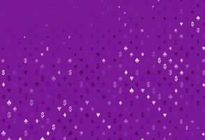 textura vector roxo claro com cartas de jogar.