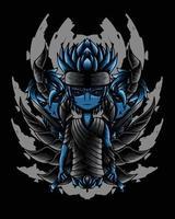 ilustração de arte de garoto samurai morto-vivo vector.eps vetor