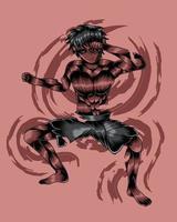 ilustração da arte do lutador do diabo vector.eps vetor