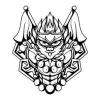 ilustração em preto e branco da arte do vetor macaco rei