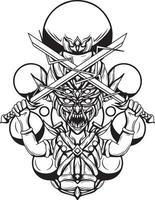 ilustração em preto e branco da arte do vetor goblin slayer