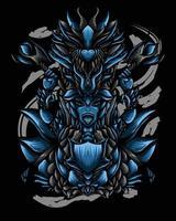 ilustração de arte de dragão guerreiro vector.eps vetor