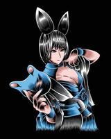 ilustração da arte da coelhinha segurando uma máscara vector.eps vetor