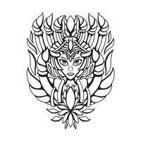 ilustração em preto e branco do vetor da rainha da natureza