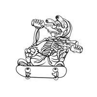 ilustração de arte em preto e branco do vetor de caveira dourada
