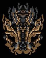ilustração da arte do guerreiro com armadura de ouro vector.eps vetor