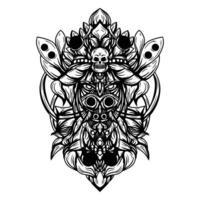 ilustração em preto e branco da ilustração da bruxa negra vetor