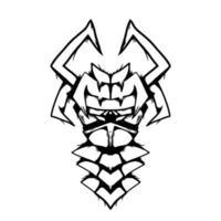 ilustração de arte em preto e branco monstro mascarado vetor
