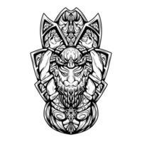 Ilustração de arte em preto e branco de gatot kaca com gravura vetorial vetor