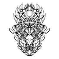 ilustrador de arte em preto e branco do vetor de mulheres mascaradas