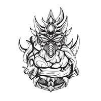 ilustração em preto e branco da arte do vetor ninja invocador