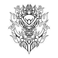 ilustração de arte em preto e branco do vetor em chamas do diabo