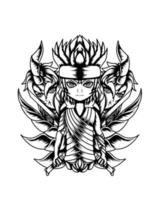 ilustração de arte em preto e branco de garoto morto-vivo samurai vector.eps vetor