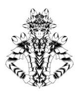 ilustração de arte em preto e branco de guerreiro com armadura de ouro vector.eps vetor