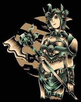 ilustração da arte da mulher com o terrível machado vector.eps vetor
