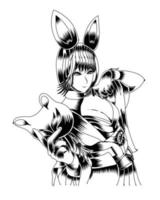 ilustração de arte em preto e branco de coelhinha segurando uma máscara vector.eps vetor