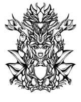 ilustração em preto e branco da arte do dragão guerreiro vector.eps vetor