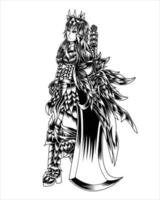 ilustração da arte do caçador de demônios com silhueta preta e branca de vetor de espada grande