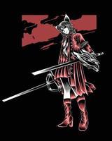 ilustração da arte do coelho stealth com vetor de espadas duplas