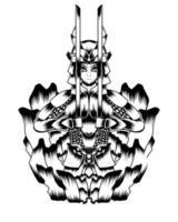 ilustração de arte em preto e branco de vetor de samurai morto-vivo furioso.