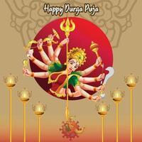 durga puja navratri festival dussehra desejos de celebração vetor