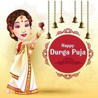 Saudações do festival Durga Puja Navratri com dançarina feliz vetor