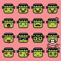 personagem emoji monstro verde fofo vetor