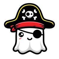 desenho de personagem fantasma pirata fofo vetor