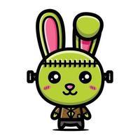 personagem coelhinho monstro verde fofo vetor
