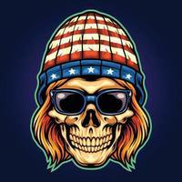 ilustrações de mascote rockstar de caveira de chapéu americano vetor