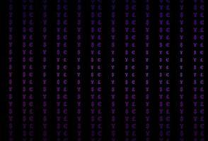 textura vector roxo escuro com símbolos financeiros.
