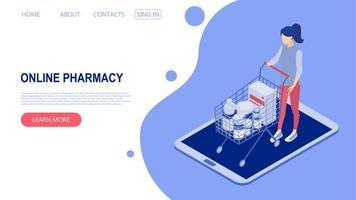 conceito de uma ilustração do vetor online pharmacy.isometric.