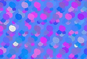 modelo de vetor rosa claro, azul com formas de bolha.