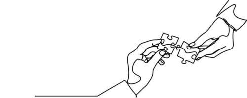 desenho de linha contínua de mãos resolvendo quebra-cabeça vetor