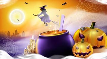 feliz dia das bruxas fundo com nuvem noturna, bruxa e abóbora. vetor