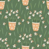 Primavera floral padrão sem emenda com flores de Narciso ou Narciso em vasos. vetor