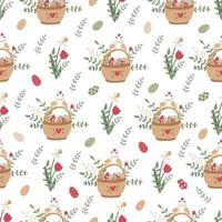 padrão sem emenda de páscoa com cestas, flores da primavera e doces vetor