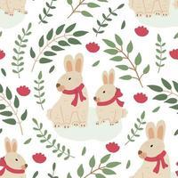 padrão sem emenda de primavera com lindos coelhos da Páscoa vetor