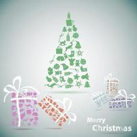árvore de Natal feliz com presentes em ilustração em vetor snow eps10