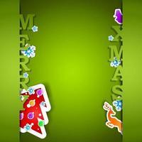 ilustração em vetor eps10 cartão verde feliz Natal