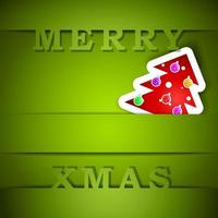 cartão verde feliz natal com ilustração em vetor árvore eps10