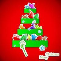 ilustração em vetor árvore de papel de Natal com listra verde