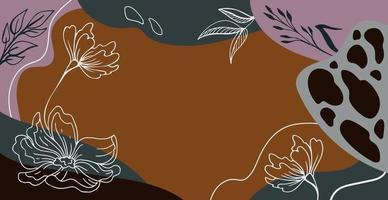 fundo retangular moderno abstrato com flores vetor