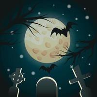 cemitério de noite realista sob os raios da lua halloween - vetor