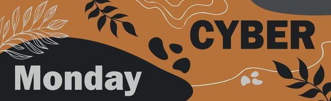 cyber segunda-feira grandes descontos de outono, banner de anúncio da web - vetor