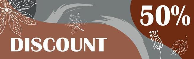 50 por cento de grandes descontos de outono, banner de anúncio da web - vetor