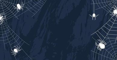 aranhas em um fundo escuro de halloween - vetor