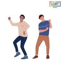 família lgbt dois homens se divertem dançando - vetor