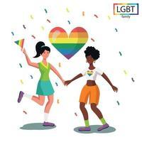família lgbt com duas meninas dançando divertido - vetor