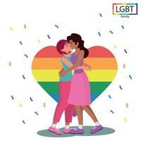 família lgbt duas meninas se beijam apaixonadamente - vetor